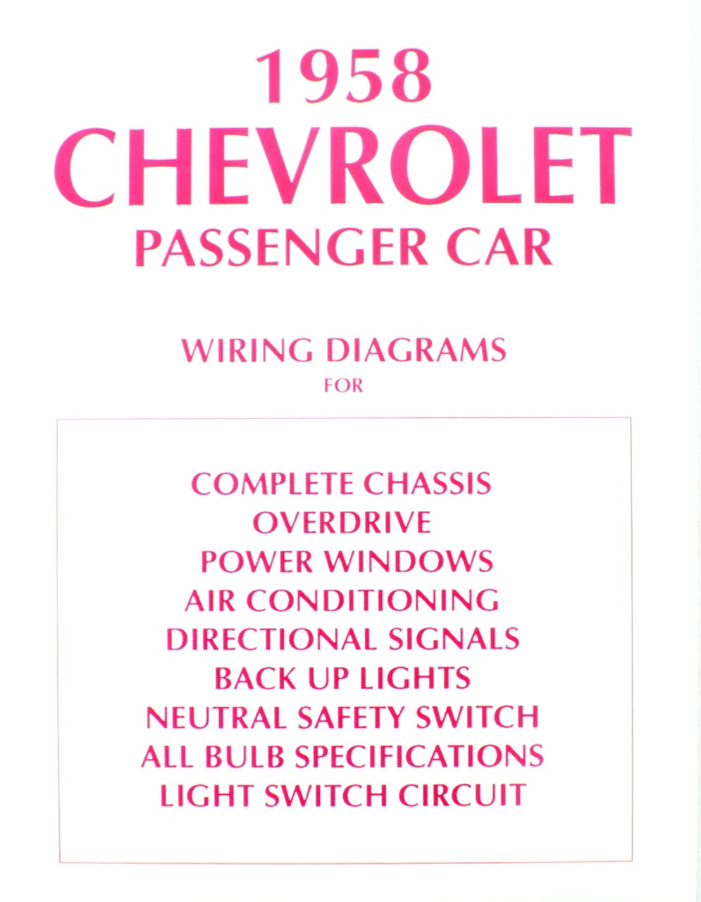 58 CHEVY IMPALA ELECTRICAL WIRING DIAGRAM MANUAL 1958 - I-5 Classic ...