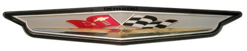 61 1961 CHEVY IMPALA V8 348 409 FRONT GRILL VEE FLAG EMBLEM