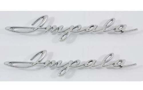 61 1961 Chevy Impala 1/4 Quarter Panel Chrome Scripts Emblems
