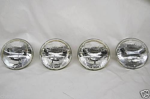 HALOGEN SEALED BEAM GLASS HEADLIGHT HEAD LIGHT BULBS SET OF 4