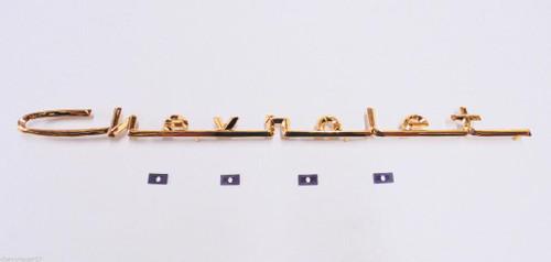 57 1957 Chevy Bel Air 6 Cylinder Gold Hood Script Emblem