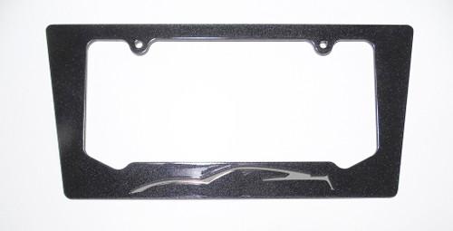 15-16 Corvette C7 Coupe Tiger Shark Gray Silhouette Rear License Plate Frame In Carbon Flash Metallic Black