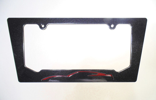 14-15 Corvette C7 Coupe Crystal Red Metallic Silhouette Rear License Plate Frame In Carbon Flash Metallic Black