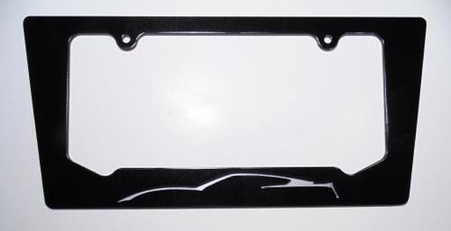 14-17 Corvette C7 Blade Silver Silhouette Rear License Plate Frame In Carbon Flash Metallic Black
