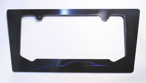 14-16 Corvette C7 Coupe Night Race Blue Silhouette Rear License Plate Frame In Carbon Flash Metallic Black