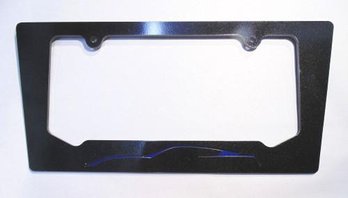 14-16 Corvette C7 Coupe Night Race Blue Silhouette Rear License Plate Frame In Carbon Flash Metallic Black