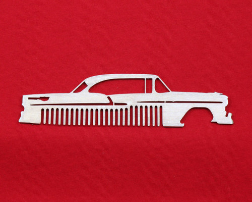 55 1955 Chevy Bel Air Brushed Stainless Steel Metal Trim Beard Hair Mustache Comb