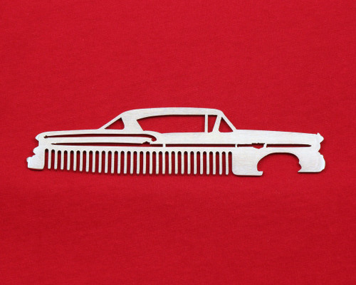 58 Chevy Bel Air Biscayne Impala Brushed Stainless Steel Metal Trim Beard Hair Mustache Comb