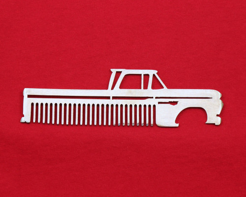 60-66 Chevy Truck Brushed Stainless Steel Metal Trim Beard Hair Mustache Comb