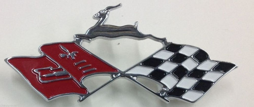 61 1961 Chevy Impala Rear Side Fender Quarter Panel Trim Emblem Cross Flag New