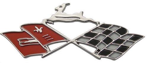 61 1961 Chevy SS Impala Dash Console Speaker Flag Trim Emblem