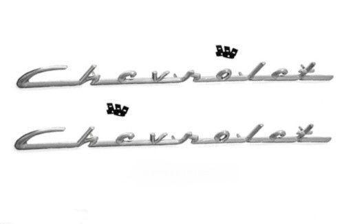 55 56 Chevy Fender & Quarter Panel Chrome Trim Chevrolet Script Emblems Pair