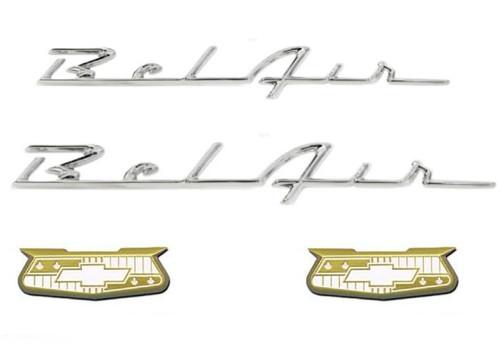 55 56 CHEVY GOLD BEL AIR CRESTS AND QUARTER CHROME SCRIPTS SET TRIM EMBLEMS NEW
