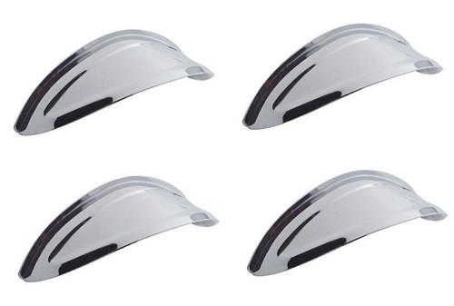 "5-3/4"" Headlight Headlamp Bulb Chrome Trim Cover Hot Rat Rod Lowrider Visors Set"