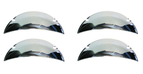 "5-3/4"" Headlight Headlamp Bulbs Chrome Trim Half Moons Covers Custom Hot Rat Rod"