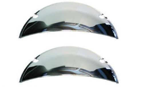 "7"" Headlight Headlamp Light Bulbs Chrome Trim Half Moons Shield Covers Pair New"