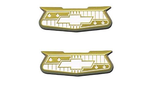 57 1957 CHEVY ALUMINUM GOLD CREST QUARTER PANEL EMBLEMS