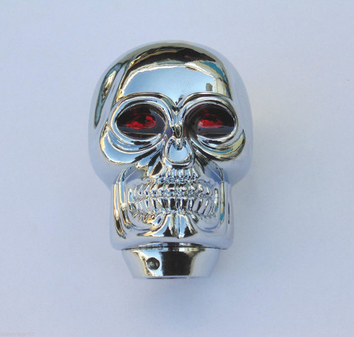 Chrome Aluminum Skull W/ Red Jewel Eyes Shifter Handle Knob Column & Floor Shift
