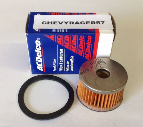 55 56 57 Chevy Glass Bowl Fuel Gas Filter Element & Gasket