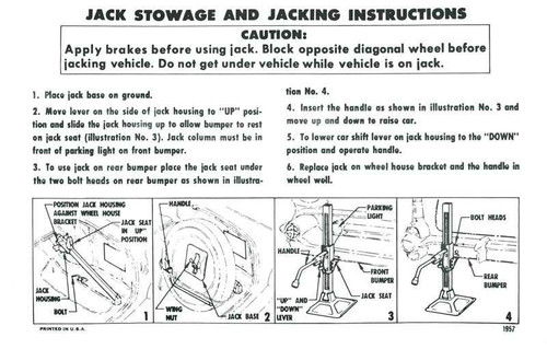 57 Chevy Car Spare Tire & Jacking Instructions 1957
