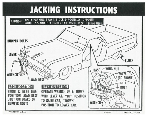 64 65 66 Chevy El Camino Spare Tire & Jacking Instructions Decal 1964 1965 1966