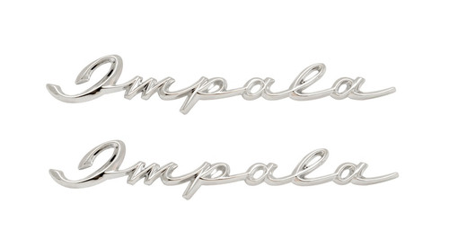 58 1958 Chevy Impala Rear 1/4 Quarter Panel Chrome Scripts Emblems Pair