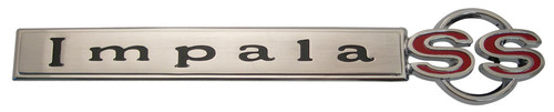 67 Chevy Impala SS Super Sport Chrome Trunk Lid Emblem Script 1967 Chevrolet