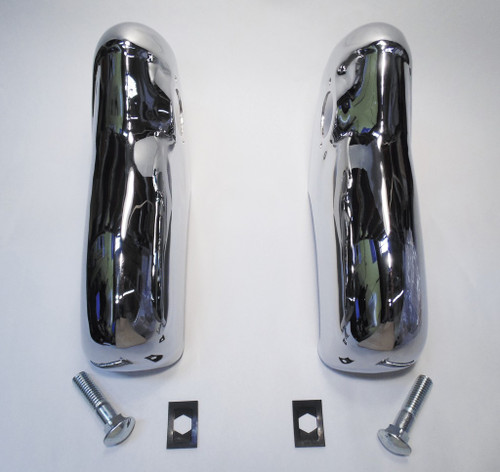 55 1955 Chevy Hardtop & Sedan & Convertible Chrome Rear Bumper Guards Pair