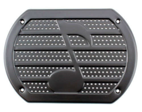 Vintage BLACK Musical Note Speaker Cover Package Tray 6X9 Lowrider Rat Hot Rod