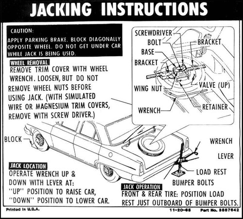 66 Chevy Nova Spare Tire & Jacking Instructions Decal 1966