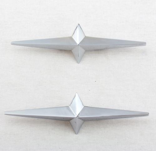 2- Lowrider Custom Cruiser Fender Skirt Chrome Star Ornament 54-58 Pontiac Pair