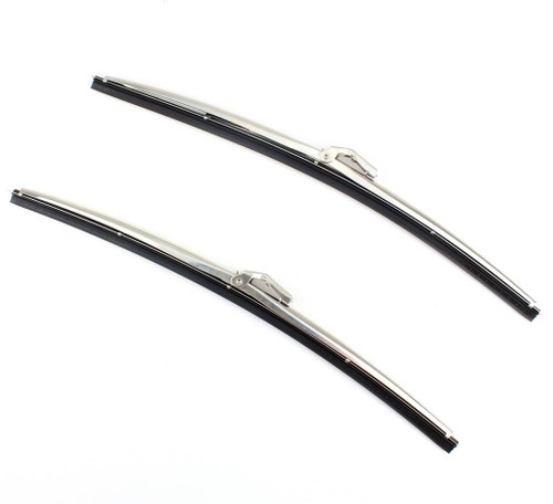 """15"""" Polished Stainless Steel Front Windshield Wiper Blades Bayonet Style PAIR"""
