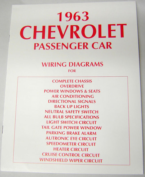 63 CHEVY IMPALA ELECTRICAL WIRING DIAGRAM MANUAL 1963