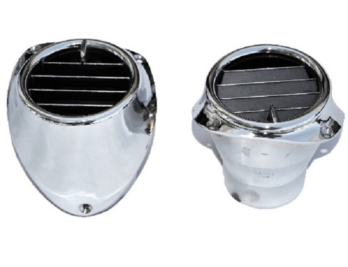 57 1957 CHEVY FACTORY A/C AIR CONDITIONING CHROME DASH VENTS AND HOUSINGS PAIR