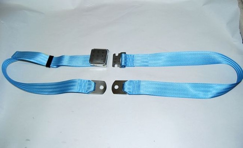 "74"" LIGHT BLUE LAP SAFETY SEAT BELT CHROME BUCKLE LATCH"