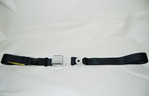 "74"" BLACK LAP SAFETY SEAT BELT CHROME BUCKLE LATCH"