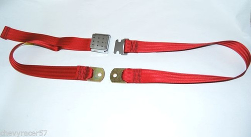 "74"" DARK RED LAP SAFETY SEAT BELT CHROME BUCKLE LATCH"