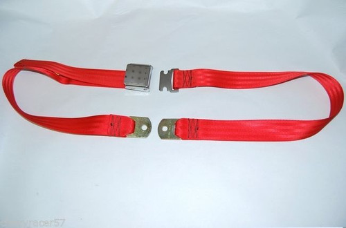 "74"" FIRE RED LAP SAFETY SEAT BELT CHROME BUCKLE LATCH"
