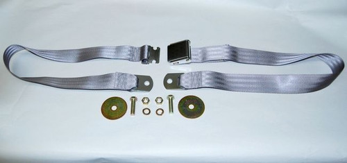 "74"" SILVER LIGHT GRAY LAP SAFETY SEAT BELT CHROME BUCKLE"