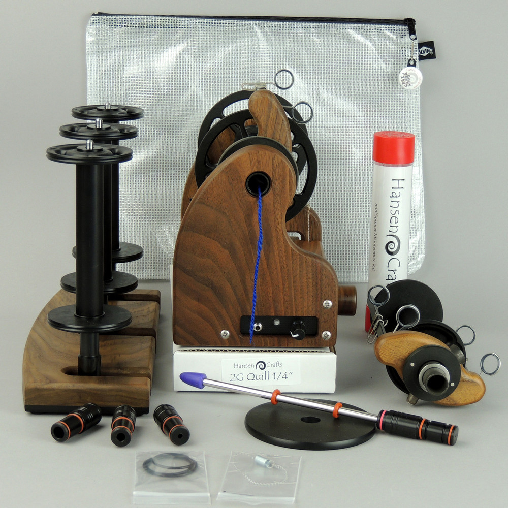 "The HansenCrafts Bundle includes; a Classic miniSpinner with the HansenCrafts Standard Flyer, Lace flyer, Maintenance kit, 3 extra HansenCrafts Lace bobbins, 2 or 3 ply Lazy Kate (your choice), Orifice reducer set, Quill - 1/4""-6mm, and a Gear/Accessory bag."