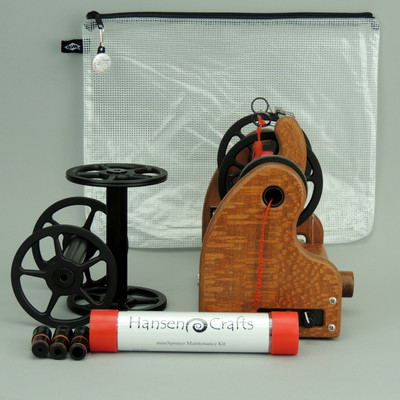 The Ultimate E-Spinner, the HansenCrafts miniSpinner Pro, in Lacewood! The Pro includes 2 additional HansenCrafts Standard or 3 additional HansenCrafts Lace bobbins, gear bag, maintenance kit, and orifice reducer set.