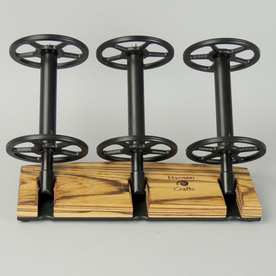 Zebrawood Lazy Kate - 45 degree angle for tensioned plying (bobbins not included)