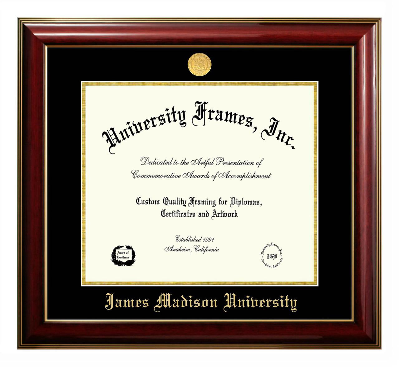 JMU Classic Diploma Frame with Gold Medallion - University Outpost