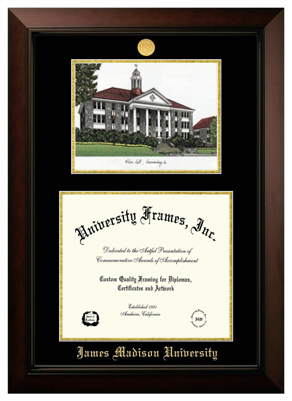 JMU Double Opening Legacy Diploma Frame with Gold Medallion ...