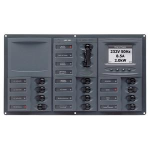 BEP AC Circuit Breaker Panel w\/Digital Meters, 12SP 2DP AC230V ACSM Stainless Steel Horizontal [900-AC3-ACSM]