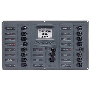 BEP AC Circuit Breaker Panel w\/Digital Meters, 16SP 2DP AC120V ACSM Stainless Steel Horizontal [900-AC4-ACSM-110]