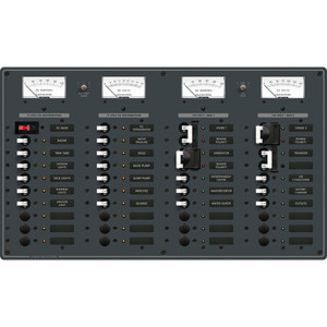 Blue Sea 8086 AC 3 Sources +12 Positions \/ DC Main +19 Position Toggle Circuit Breaker Panel  (White Switches) [8086]