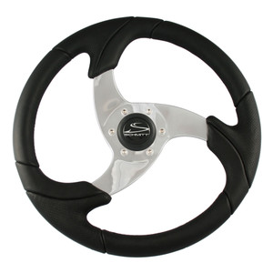 """Ongaro Folletto 14.2"""" Black Poly Steering Wheel w\/ Polished Spokes and Black Cap - Fits 3\/4"""" Tapered Shaft Helm [PU026101]"""