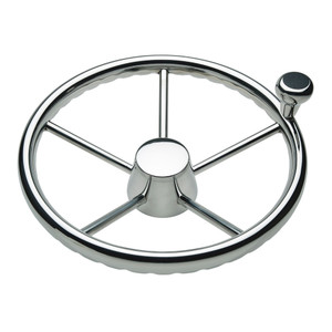"""Ongaro 170 13.5"""" Stainless 5-Spoke Destroyer Wheel w\/ Stainless Cap and FingerGrip Rim - Fits 3\/4"""" Tapered Shaft Helm [1731321FGK]"""