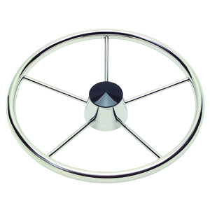 """Ongaro 170 13.5"""" Stainless 5-Spoke Destroyer Wheel w\/ Black Cap and Standard Rim - Fits 3\/4"""" Tapered Shaft Helm [1721321]"""